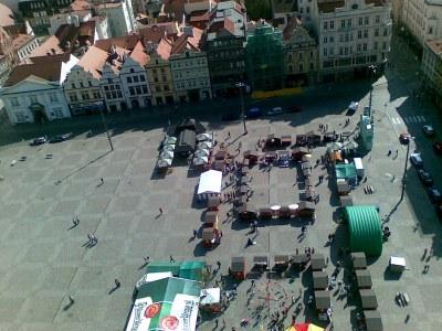 Der Marktplatz von Pilsen von oben