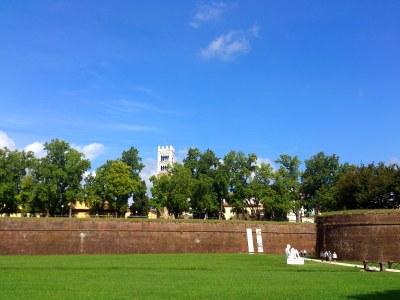 Der erste Anblick von Lucca! Eine bewaldete Mauer und Türme ...