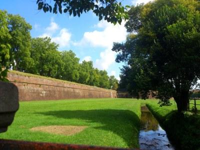 Lucca's Stadtmauer von aussen, ein beeindruckendes Bollwerk!