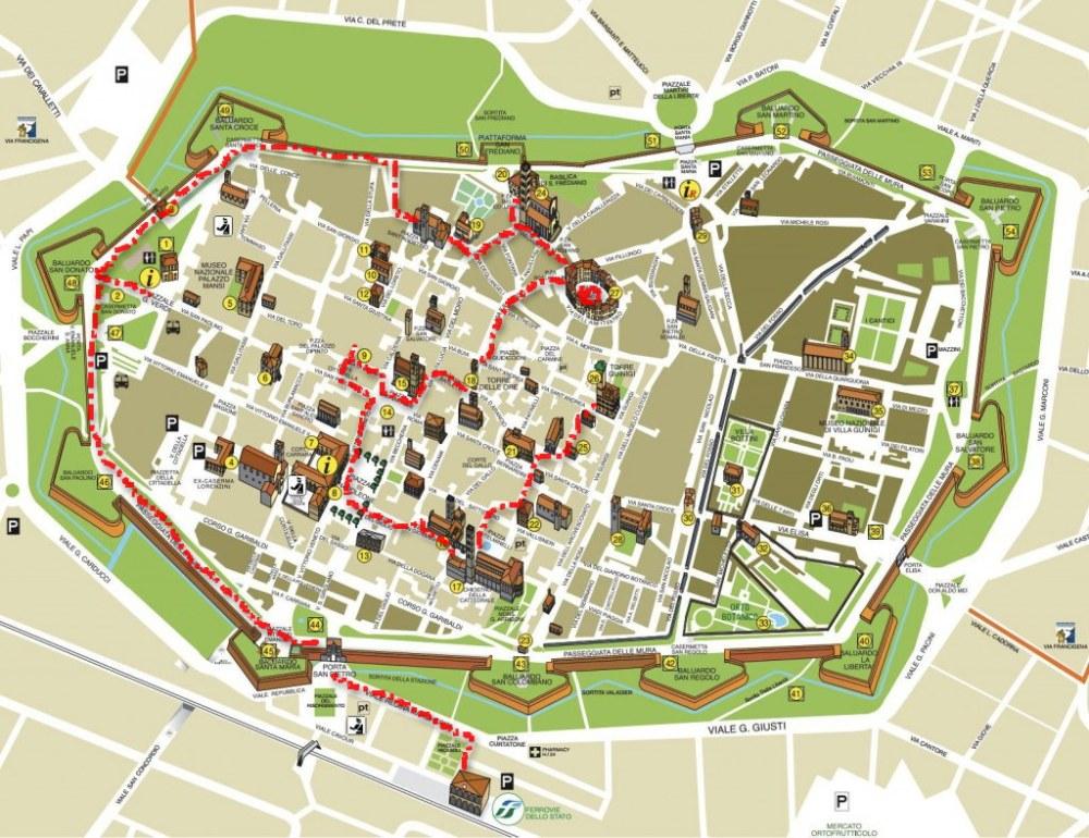 Stadtplan Lucca mit Tour